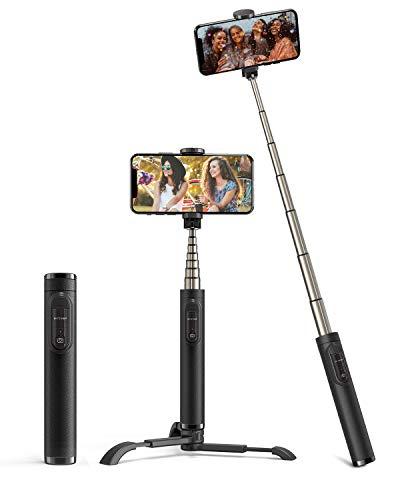 BlitzWolf Palo Selfie Trípode con Control Remoto, Selfie Stick de Aluminio Extensible para iPhone XS Max/XR/X/8/8P/7/7P/6S/6/5, Galaxy S10/9/8/7/6, Huawei, Android y etc.(Negro)