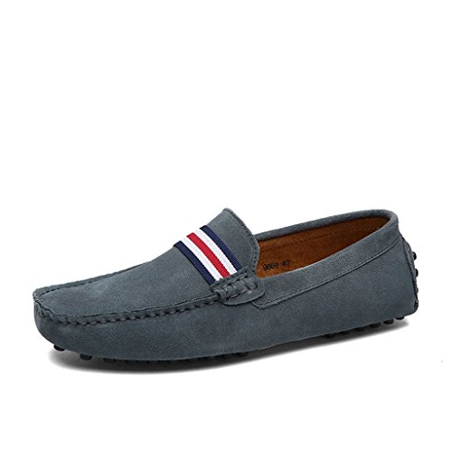 Eagsouni Mocassins en Daim Hommes Penny Loafers Casual Bateau Chaussures de Ville Flats #1Gris