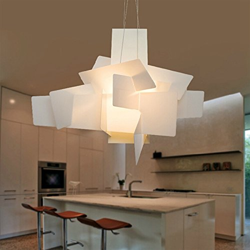 BRILIFE Led Pendant Light moderne Big Bang Led Lampes suspendues Blanc / Rouge Stacking Pendentif en acrylique Lampes Suspension Lustres De Teto Luminaires, blanc 220V E27
