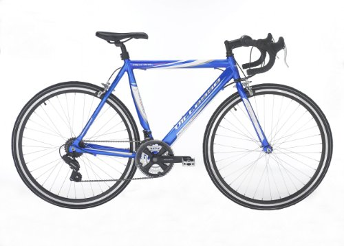 "Vitesse Sprint Unisex Road Bike Blue, 22.5"" inch alloy frame, 21 speed Shimano gearing steel road forks"