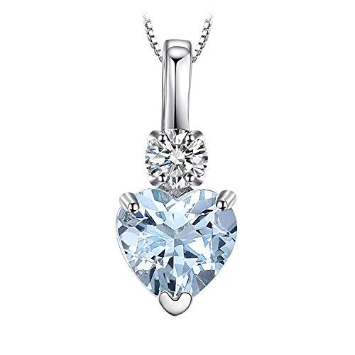 JewelryPalace Donna Gioiello 0.8ct Amore Cuore Acquamarina Naturale Bianchi Topazio Ciondolo Collana con Pendnete 925 Argento Sterling 45cm