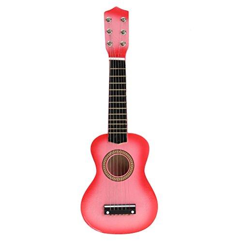 TOYMYTOY 21 pulgadas Guitarra acustica Pequeña guitarra de madera para niños infantil principiantes (Rosado)