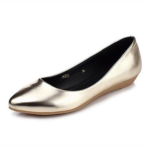 VogueZone009 Damen Ohne Absatz Rein Ziehen auf Mattglasbirne Spitz Zehe Flache Schuhe, Rot, 40