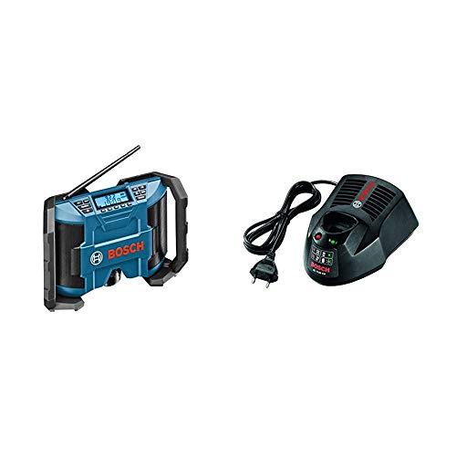 Bosch Professional Akku Baustellenradio GPB 12V-10 (ohne Akku, 10,8 V/12 V Akkubetrieb, im Karton) schwarz/blau + Bosch Professional Ladegerät 10,8 Volt Li-Ion (Schnellladegerät AL 1130 CV)