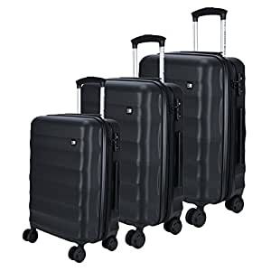 Nasher Miles Rome Expander| Hard-Side| Luggage Set of 3 Black Trolley|Travel|Tourist Bags (55, 65 & 75 cm)
