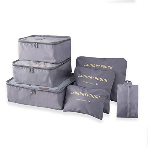 Kleider Taschen Koffer Organizer Set [Verbesserte] Gepäck Aufbewahrung Reise Kleidertaschen Verpackungswürfel für Kleidung, Schuhe, Unterwäsche, 7 Stück -