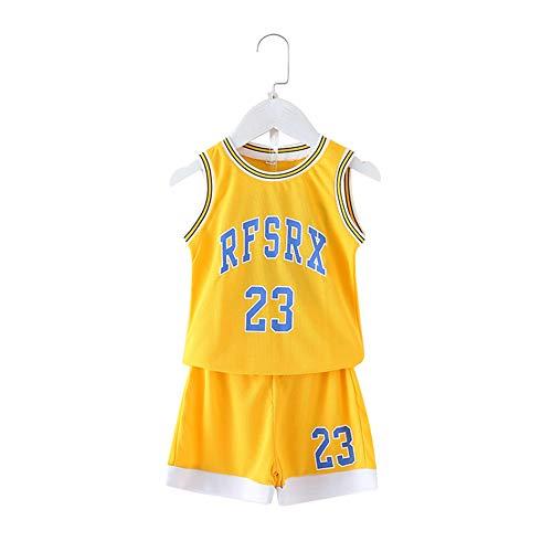 Basketball Jersey Sportbekleidung Für Jungen, 30Trockener Und Atmungsaktiver Ärmelloser Ballanzug, Tops und Shorts,Gelb,XS
