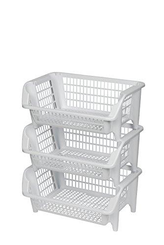 Regal bestehend aus drei stapelbaren Körben aus Kunststoff in Weiß. Stapel- und nestbar. Beliebig erweiterbar. Maße BxTxH 54,5 x 38 x 70 cm! -