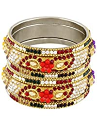 Pass Pass Traditional Designer Stone Studded Bangles For Women And Girls Set Of 6