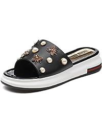 LISABOBO Zapatos de mujer PU Primavera Confort zapatillas Zapato abierto de talón plano elegante casual/cómoda...