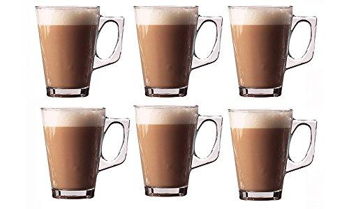 Invero 6x Juego de Premium Café Latte 240ml (8.8oz) claro vaso alto perfecto para té café marrón Chocolate caliente Cappuccino Espresso y otras bebidas calientes