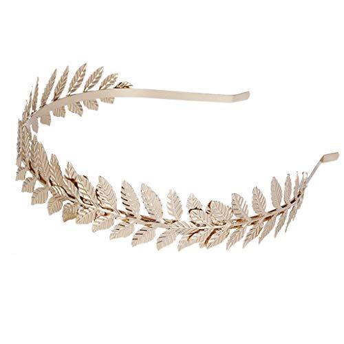 chenpaif European Greek Goddess Headband Metallic Gold Silver Leaves Branch Crown Hair Band Wedding Bridal Tiara Shimmer Hair Accessories Gold