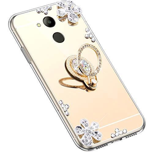 Uposao Kompatibel mit Huawei Honor 6C Pro Hülle Silikon Spiegel Handyhülle Schutzhülle mit 360 Grad Ring Ständer Glitzer Kristall Strass Diamant Mädchen Handy Tasche Silikon Hülle Case,Gold