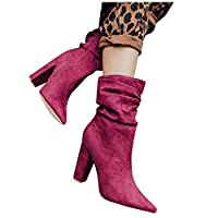 Womens High Heels Boots Chunky Heel Pointed Toe Shoes 2020 UK Feminie Boots Casual Womens Boots, Ladies Ankle Knight Boot, UK Size 3.5-9