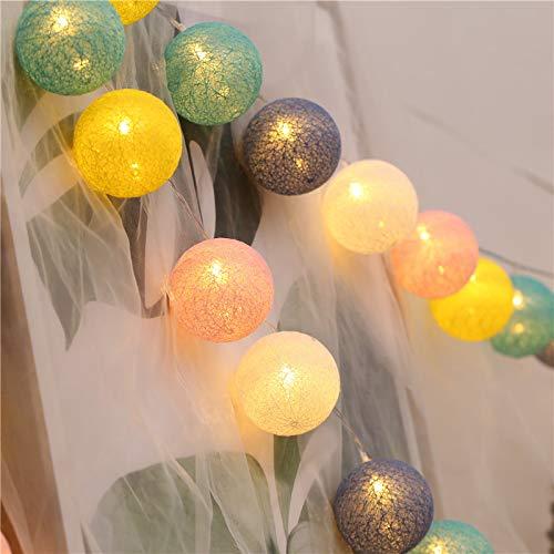 30 luces de cadena de globo de bola de algodón LED con blanco cálido , 15.7FT, luces de linterna de hadas de globo alimentadas por batería para la decoración del hogar fiesta de jardín