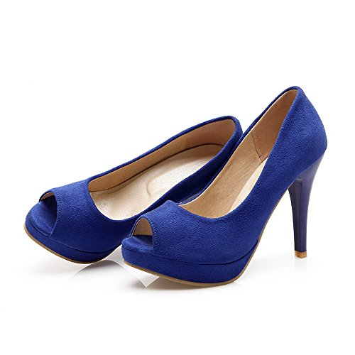 VogueZone009 Donna Tirare Tacco Alto Pelle Di Mucca Puro Sandali Azzurro