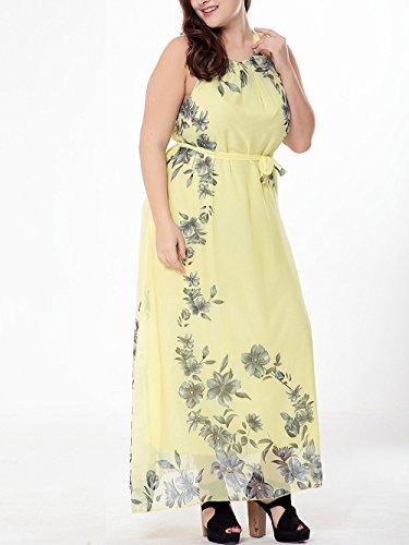 Sommer Damen Maxikleid Strandkleid Lange Kleider Partykleid Floral  Abendkleid Gelb