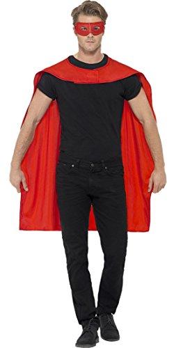 erdbeerloft - Herren Superhero Umhang mit Maske Kostüm Karneval , Rot, Größe One Size