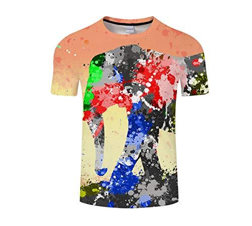 Camiseta 3D de Manga Corta para Hombre Camiseta de inyección de Tinta Elefante Cuello Redondo Manga Corta Slim Casual Tees -XL