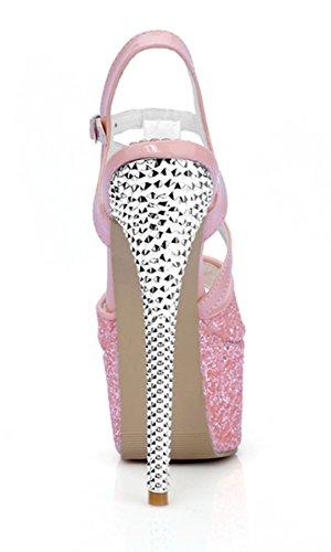 YE Damen Extreme High Heels Glitzer Sandaletten Plateau mit Riemchen und Schnalle 16cm Absatz Party Pumps Lila