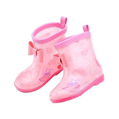 Samber Bottes de Pluie Enfant Chaussures Antidérapantes Bottines Imperméables pour Mixte Enfant 3-7 Ans Rose