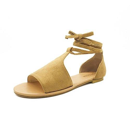 Alaso Sandalen Frauen Sommer Runde Spitze Atmungsaktive Lace-Up Strand Sandalen Rom Casual Flache Schuhe