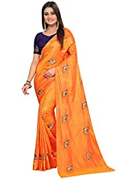 High Glitz Fashion Women's Orange Color Hathi Embroidery Work Paper Silk Saree With Blouse Piece