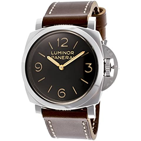Panerai Luminor 1950 meccanico Uomo, Nero Quadrante Tan In Vera Pelle
