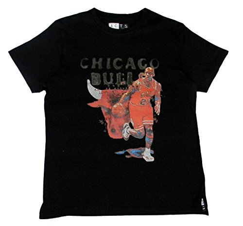 ACTS- Basketball Heros, Chicago Bulls, Mens T-Shirt, Michael Jordan Logo, White, Black, Größe: M, L (XXL, Black)