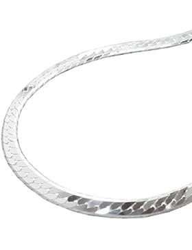 Unbespielt Kette Halskette Silberkette 925 Silber Damen Panzerkette flach für Frauen Länge 50 cm x 3 mm Anhängerkette...