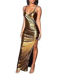 16756c79325aa Abito party bretelle scollo schiena vestito cerimonia aderente spacco lato  effetto lucido oro argento