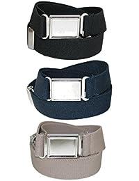 CTM Kids 'elástica ajustable Cinturón con hebilla magnética de cierre (Pack de 3colores)