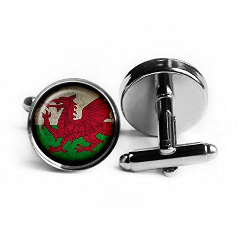 Wales Welsh Walisisch Flagge Rhodium Silber Manschettenknöpfe