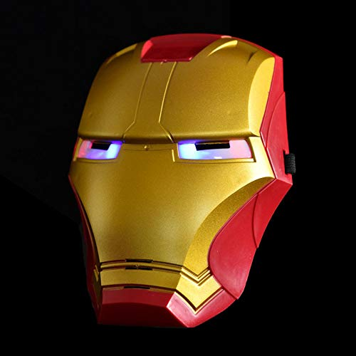 SEJNGF Kinder Geschenk Cartoon Anime Performance Maske Iron Man Halloween Requisiten Mit LED-Leuchten Beleuchtet Iron Man Maske (Mut Anime Kostüm)