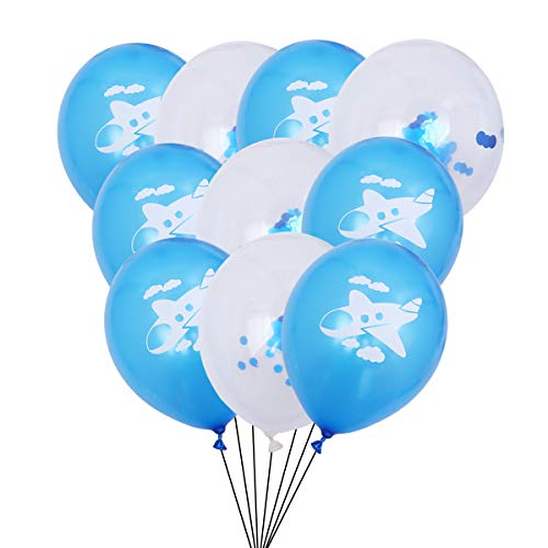 Amosfun 10 STÜCKE 12 Zoll Cartoon Flugzeug Wolke Latex Ballons Konfetti Ballons Set Party Dekoration Party Supplies (hellblau und Blau Pailletten)