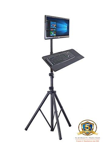 Portable Tripod Screen (Allcam TR940 Tripod Portable Floor Stand + Keyboard Tray attachement & LCD Monitor Desk Mount Bracket for 15