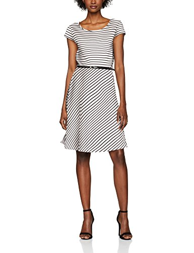 VERO MODA Damen Kleid Vmvigga Flair Capsleeve Dress Noos, Mehrfarbig (Snow White Stripes:Black), 42 (Herstellergröße: XL)