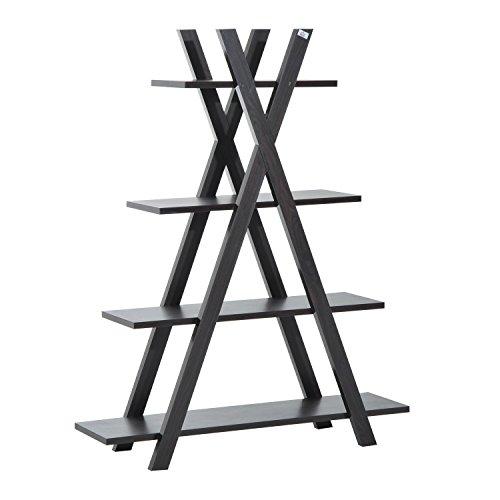 HOMCOM 4-tier Wooden Ladder Shelf Triangular Display Storage Rack Living Room Furniture Dark Coffee