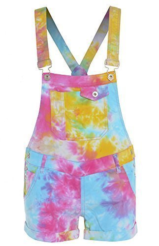 NEU Denim Latzhose Shorts neon hell Damen Größe 6-8-10 12 14 - Multi Neon, 42