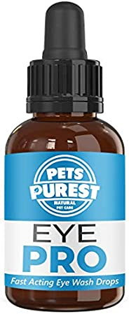Pets Purest 100% Natural Eye Wash Drops For Dogs, Cats & Pets - Powerful & Fast Acting Eye Wash Drops