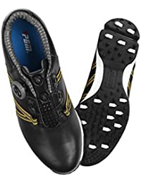 FUBULE Los Hombres de los Zapatos de Golf aguijonean Menos la Resistencia a la abrasión Antideslizante Impermeable del Cuero del pie de la Vaca Que Gira la función Multi del botón al Aire Libre