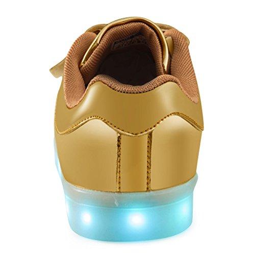 SAGUARO® Garçon Fille LED Chaussures 7 Couleu Enfants USB Charge Chaussures de Sports Baskets Or