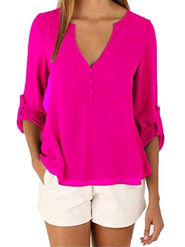 LaoZan Damen Casual VAusschnitt Mit Knopf Langarm Chiffon Leger Bluse Tops  Oberteile Solid Shirt Rose