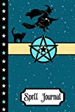 """Spell Journal: Wicca Black Cat And Witch Magic Gift - BLANK SPELL JOURNAL, 120 pages, 6"""" x 9"""""""