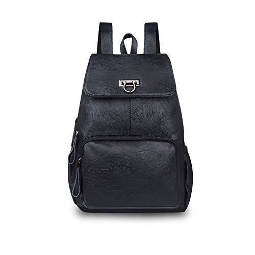 CARQI Leder Rucksack Mode Mini Schule Handtasche Stilvolle Schöne für Frauen, Damen und Mädchen (Schwarz)