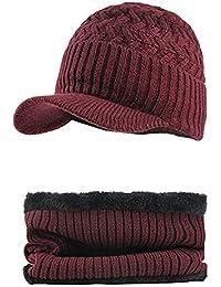 f65c7b99bcf41 Fossen Invierno Hombre Gorro de Punto Tejer de lana Beanie Sombrero de  gorras con Viseras +