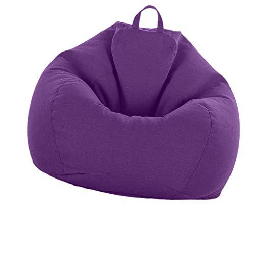 D DOLITY XXL Sitzsackhülle ohne Füllung, Riesensitzsack Sitzsack Bezug Hülle aus Leinen - Lila