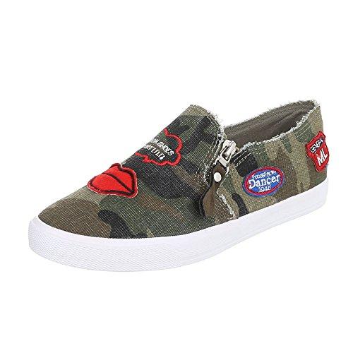 Ital-Design Slipper Damen-Schuhe Low-Top Moderne Reißverschluss Halbschuhe Khaki, Gr 40, R55-4- -