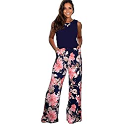 Longwu Mujeres Casual Sin Mangas Mono Flor Impresa Pantalones Anchos de piernas largas Traje de Mameluco con Bolsillos Azul Oscuro-S