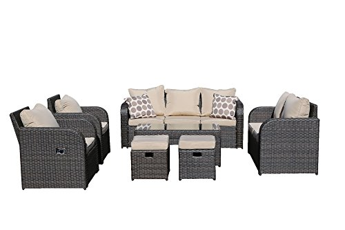 Yakoe 9 Seater Rattan Garden Furniture Set Sofa Reclining